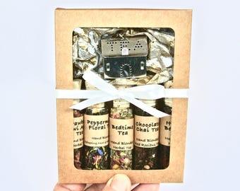 Herbal Tea Sampler Gift Set, 5 Mini Bottles Loose Leaf Tea, Beaded Tea Infuser, Mad Hatter High Tea Party, Tea Gift, Hostess Gift, High Tea