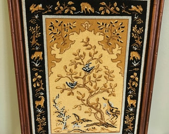 Vintage Framed Needlepoint of Animals in Nature