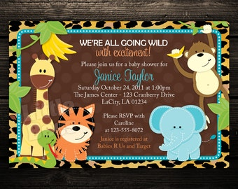 Jungle Baby Shower Invitations, Jungle Birthday Invitations, Zoo Invitation, Safari Invites, Set of 10 printed invitations with envelopes