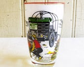 Vintage Libbey Cowboy Tumbler - Highball Glass - Western Cattle Drive - Chuck Wagon and Cowboys - Mid-Century 1960s