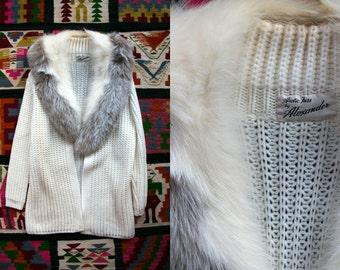 Vintage 1960's Arctic Fox Fur Sweater by Alexander Silky Soft Feminine Women's Medium Luxurious High Fashion