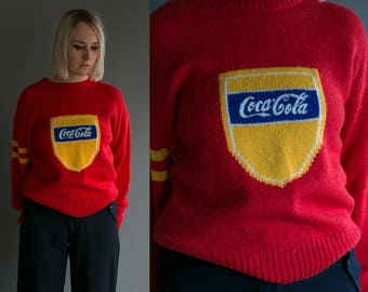 Vintage 1980's COCA COLA Sweater Red Wool Pullover Americana Embroidery Advertising Unisex Winter Fashion Preppy Size Small Medium