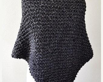 On Sale Outlander Inspired Shawl - Claire's Knitted Wrap - Claire Knit Shawl - Charcoal Knitted Shawl - Dark Gray Shawl - Alpaca Boucle Shaw