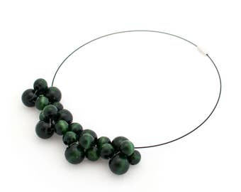 Wooden statement necklace Bubbles small dark green