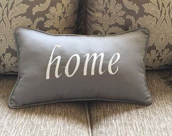 Lumbar Pillow, decorative pillow, with embroidery HOME , ready to ship