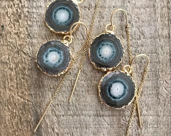 Stalactite Threader Earrings, U Threader Earrings, Geode Earrings, Chain Earrings, Ear Threads, Gemstone Earrings, 14K Gold Fill