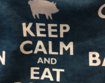 Keep Calm and Eat Bacon - Navy and White - Flannel Fabric -BTY