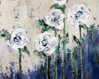 Flowers, Blue, abstract art,  canvas print, Bottom of the Sea