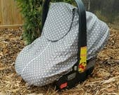 Spring/Summer Baby Carseat Cover - Infant Carseat Cover - Solstice Line in Grey with White Swiss Cross