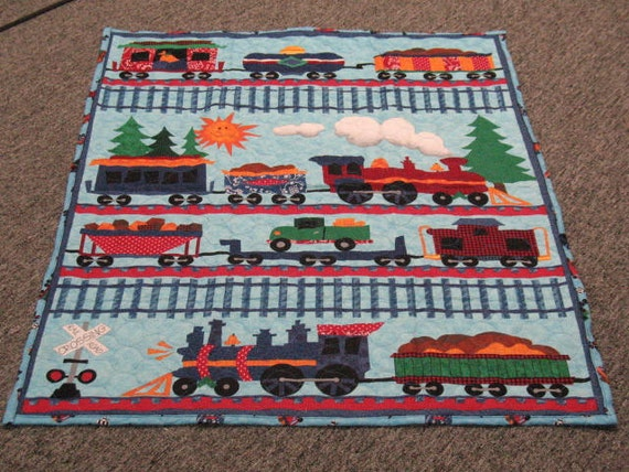 Quilted train quilt lap quilt toddler baby floor mat for Floor quilt for babies