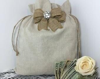 2 Money Dance Bag, Rustic Wedding Dance Bag, Dollar Dance Bag, Wedding Accessories, Burlap Wedding, Flower Girl, Rustic Wedding, Money Bag