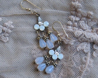 White Opal Gold Earrings / Swarovski
