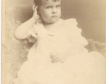 Antique Cabinet Photograph Posed little boy in a gown