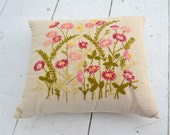 1960s Floral Needlepoint Pillow