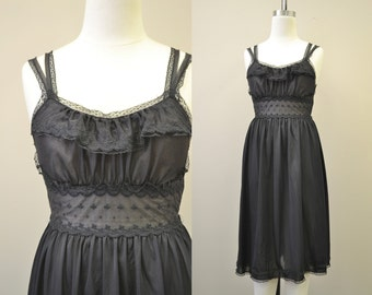 1950s Kayser Black Night Gown