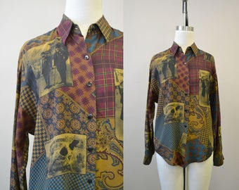 1980s Linda Allard for Ellen Tracy Silk Blouse