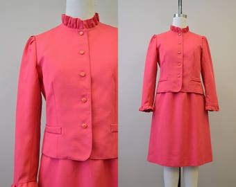 1980s Pink Ruffled Skirt Suit
