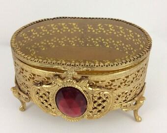 Vintage Mid Century Gold Filigree Jewel Box