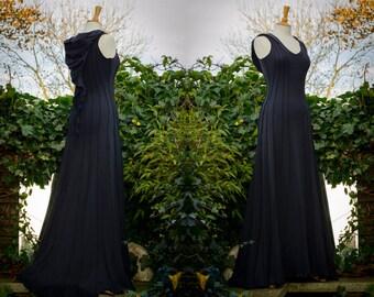 Druid Lily Dress ~ Long Black Dress ~ Reveal your inner Goddess ~ Faerie Clothing ~ Wedding Cape ~ Bridal Wear ~ Ren Fest ~ Handfasting ~