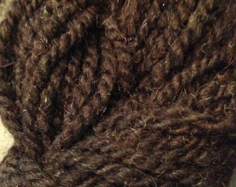 Dark brown Jacob wool yarn hand spun - Sale yarn  worsted weight
