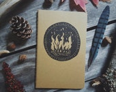 Autumn Campfire Notebook Moleskine Journal Hand Carved Linocut Nature Autumn Fall Camping Stocking Stuffer Present Boy Men Women