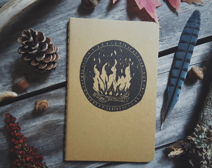 Featured listing image: Winter Campfire Notebook Moleskine Journal Hand Carved Linocut Nature Camping Outdoors Hiking  Present Boy Men Women