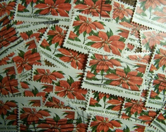 Red Poinsettia Lot of 100 Christmas Postage Stamps - United States