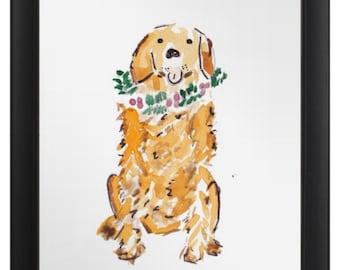 Framed Golden Retriever Holiday Art Print