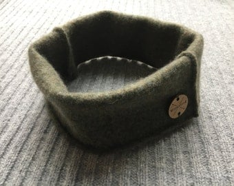 Cashmere Earwarmer Headband LODEN GREEN Ear Warmer Head Band Upcycled Cashmere Sweater Unisex Bad Hair Day Mess Bun Accessory by WormeWoole