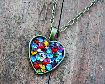 Heart with Vintage Rhinestones  Sweetheart Paris Chic  Summer Fun