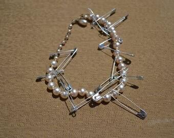 Chocker Vintage Reclaimed Saftey Pins Modern Twist   Boho  Pearls Graduation