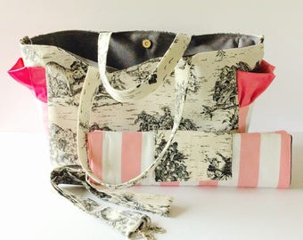 MADE TO ORDER Toile Diaper Bag set, waterproof lining, changing pad, long adjustable strap, magnetic closure