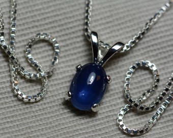 Sapphire Necklace, Blue Sapphire Cabochon Pendant 1.18 Carat Appraised at 525.00, September Birthstone, Genuine Sapphire, Sterling Silver