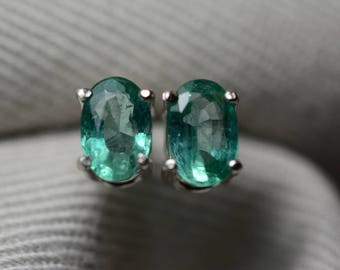 Emerald Earrings, Oval Cut Emerald Stud Earrings 0.89 Carats Appraised at 700.00 Sterling Silver, May Birthstone, Natural Emerald, Certified