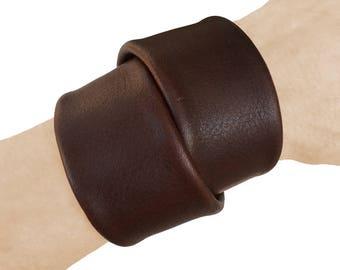 Chunky bracelet - Cowhide cuff - Macho wrap bracelet - Leather wrap cuff - Double wrap cuff - Brown leather cuff - Brown wrap bracelet -