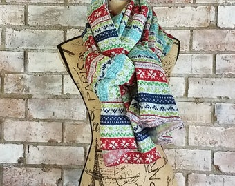 Fair Isle Scarf - Thick Blanket Scarf - Sweatshirt Scarf - Chunky Scarf - Oversized Scarf - Thick Winter Scarf - Winter Accessories