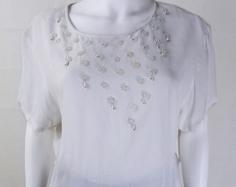 Vintage White Beaded Cropped Silky Top One Size