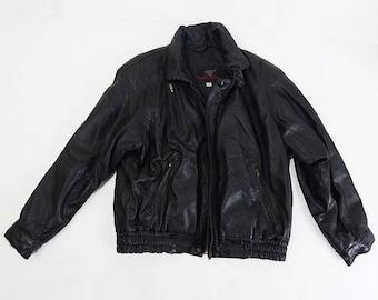 Mens Vintage Black Leather Biker Style Jacket Size Large