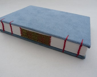 Light blue journal, Coptic, woven spine, notebook, faux suede