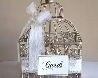 Small Pearl Bird Cage-Wedding card holder