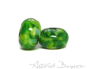 Luck of the Irish Artisan Glass Lampwork Bead Pair - For Good Luck Bracelet or Earrings - Pantone Color of the Year -  Greenery with Sparkle
