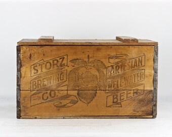 Vintage Beer Crate, Storz Brewing Co. Omaha NE, Vintage Beer Crate, Storz Brewing Artesian Well-Water Beer, 1920's Beer Crate XXL Beer Crate