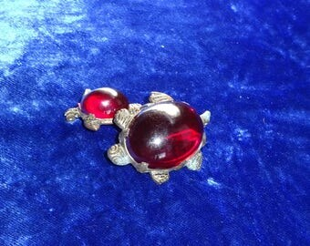 Antique Pot Metal jelly belly 1880 to 1900's turtle pin duets Wonderful Pair C clasp