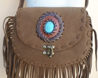 20%OFF RESERVED bohemian gypsy hippy retro hipster festival fringed bag with faux turquoise inlay,hand lacing and  metal latch..........