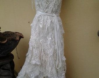 "20%OFF boho wedding dress formal brides maid bohemian lagenlook gypsy vintage... medium to 42"" bust.."