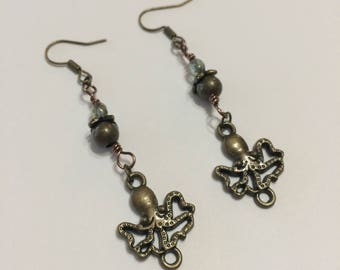 Brass Leaves and Jewel With Dangling Brass Octopus Earrings by Steamtime