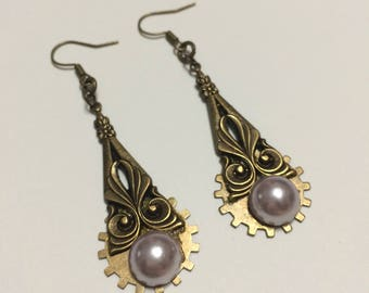 Steampunk Dangling Gear Art Nouveau Earrings With Attatched Faux Pearl by Steamtime