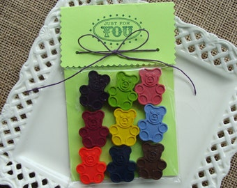 CRAYONS - My TEDDY BEAR - Crayon Set of 9 - Easter Basket Filler - Party Favor