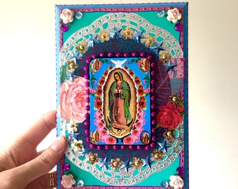 On SALE Our lady of guadalupe vintage image on wooden plaque/ Mexican craft  // OOAK folk art / Mexican Love wedding