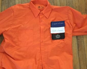 X-Large Land Cruiser mechanics shirt 40 series Velcro patch front Red Kap orange